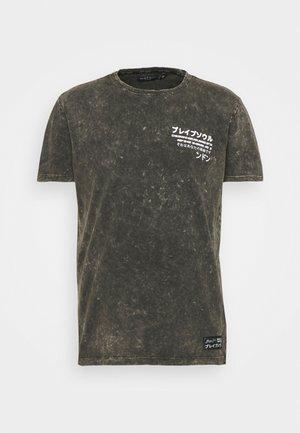 T-shirts med print - olive acid wash