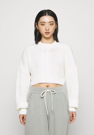 CROPPED CABLE JUMPER - Jumper - off white