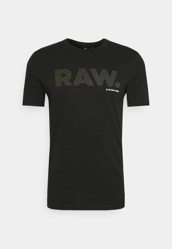 G-Star 3D RAW LOGO SLIM - T-shirt z nadrukiem - black/czarny Odzież Męska VPBZ