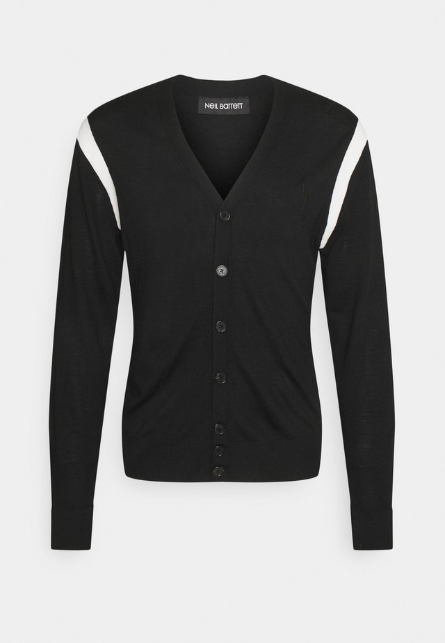 TRAVEL CARDIGAN WITH CONTRAST INTARSIA INSERT - Neule - black/white