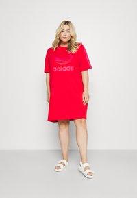 adidas Originals - TEE DRESS - Jersey dress - vivid red - 0