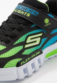 Skechers - FLEX-GLOW - Tenisky - black/blue/lime - 5