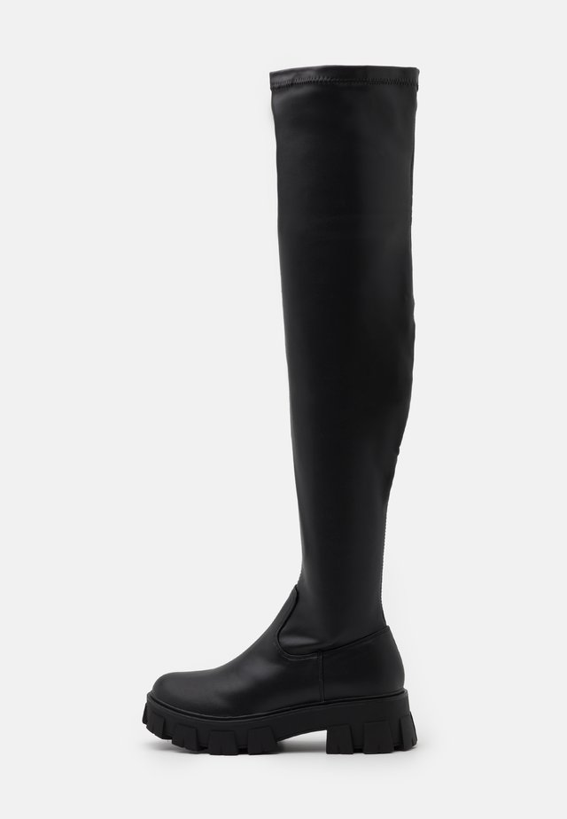 CHUNKY SOLE THIGH HIGH BOOTS - Cuissardes - black