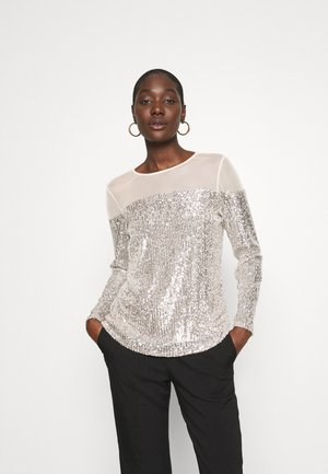 INSERT SEQUIN LONG SLEEVE - Bluzka - champagne