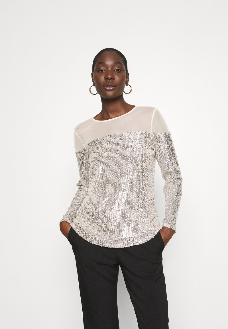 Dorothy Perkins - INSERT SEQUIN LONG SLEEVE - Blouse - champagne