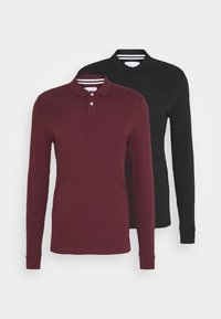 Pier One - 2 PACK - Polo shirt - bordeaux/black - 4