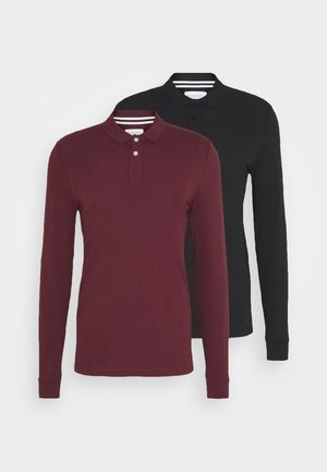 2 PACK - Polo shirt - bordeaux/black