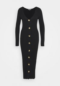 Missguided Tall - BUTTON FRONT DRESS - Pletené šaty - black - 0