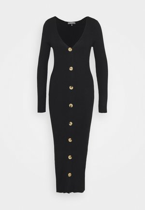 BUTTON FRONT DRESS - Strikkjoler - black