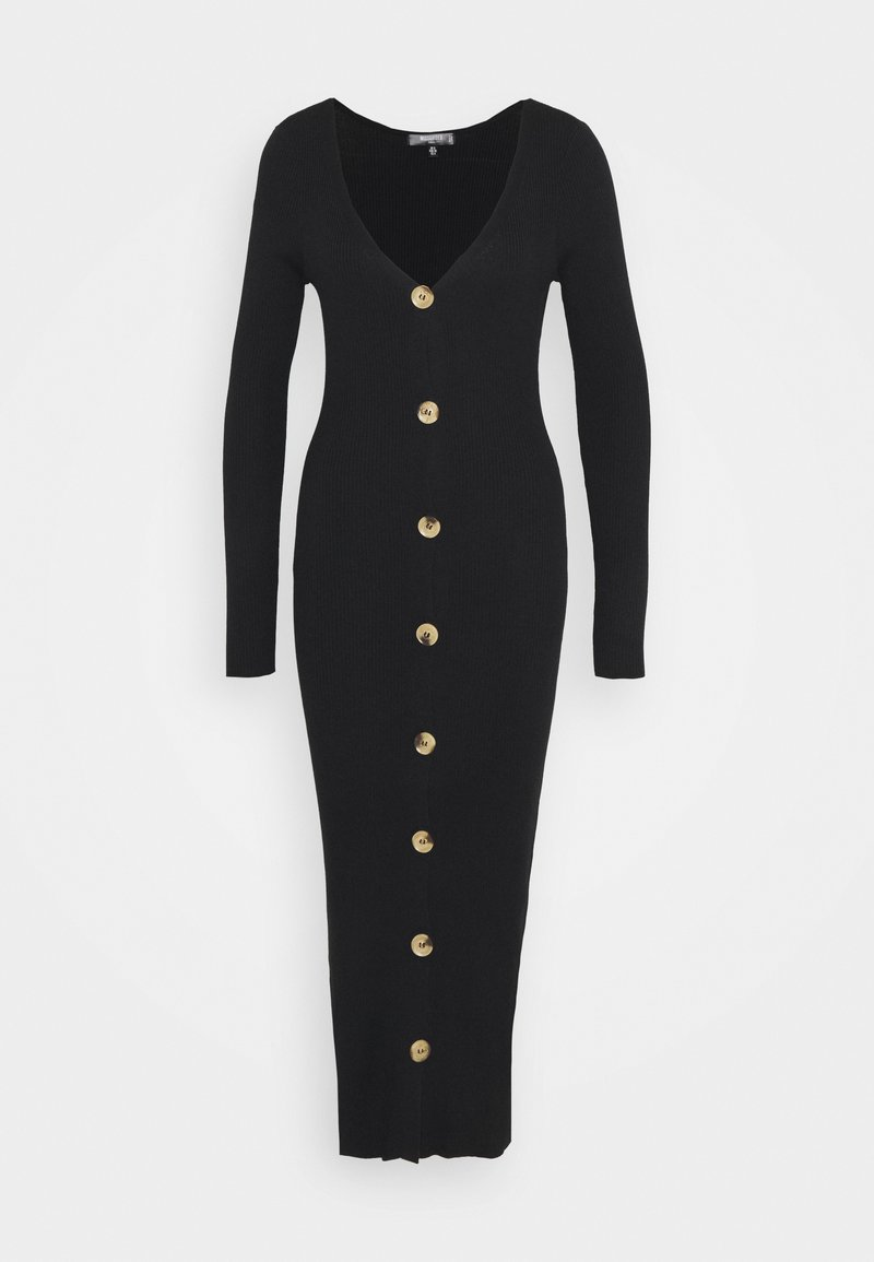 Missguided Tall - BUTTON FRONT DRESS - Pletené šaty - black