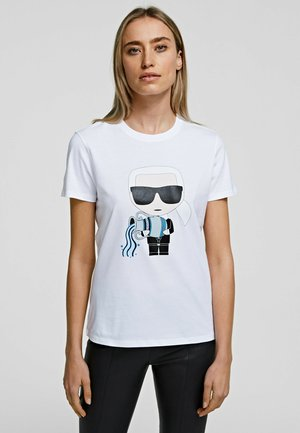 AQUARIUS - T-shirt z nadrukiem - white