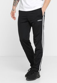 adidas Performance - 3 STRIPES SPORTS REGULAR PANTS - Träningsbyxor - black/white - 0