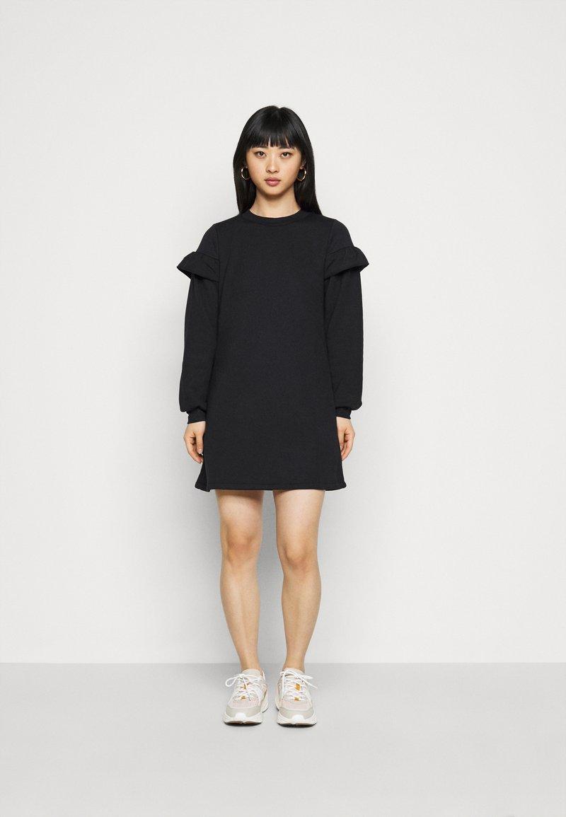Miss Selfridge Petite - FRILL SLEEVE DRESS - Day dress - black