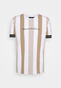 VEDTON STRIPE TEE - T-shirt imprimé - sand/white