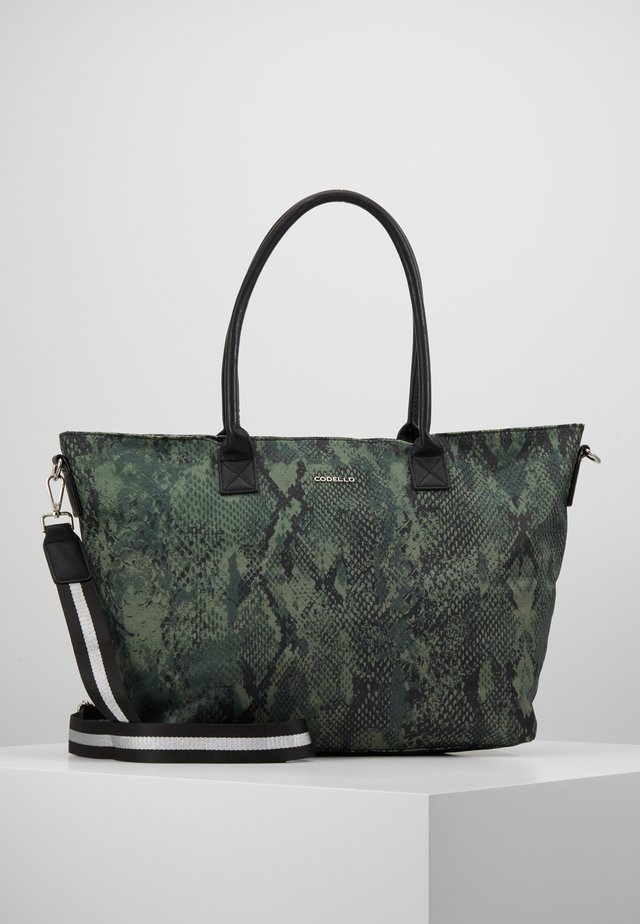 SNAKE PRINT SHOPPER - Shopping bag - bottle green
