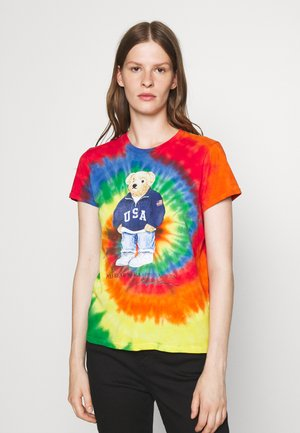 TIE DYE BEAR SHORT SLEEVE - Print T-shirt - rasta blue
