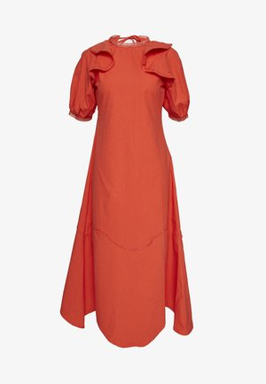 TRIM DETAIL RUFFLE SHOULDER MIDAXI DRESS - Kjole - orange