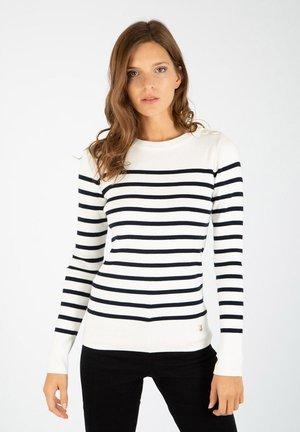 Long sleeved top - milk / rich navy