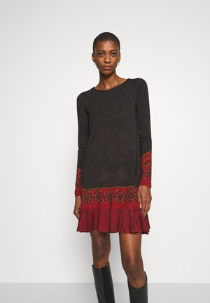 NAGOYA - Vestido informal - anthrazite/dark red