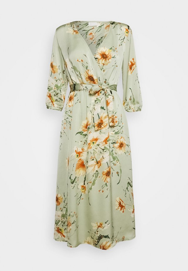 VILUNA LIVA 3/4 MIDI TIEBELT DRESS - Day dress - cameo green
