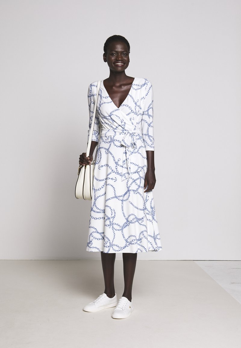 Lauren Ralph Lauren - PRINTED MATTE DRESS - Žerzejové šaty - colonial cream