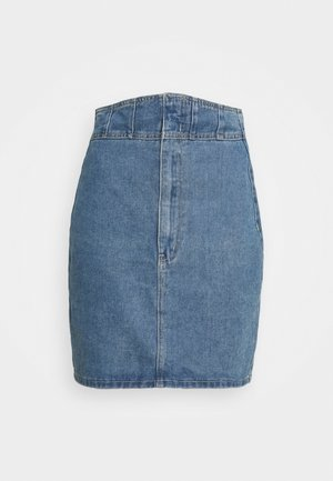 CORSET DETAIL SKIRT - Denim skirt - blue