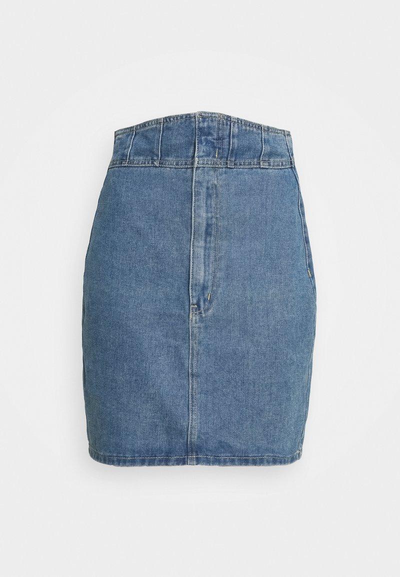 Missguided - CORSET DETAIL SKIRT - Denim skirt - blue
