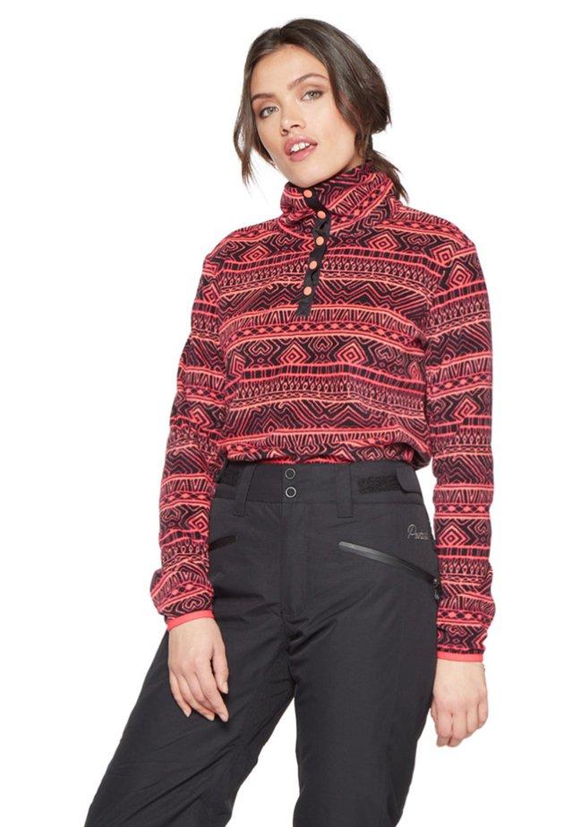 Fleece jumper - coral/black
