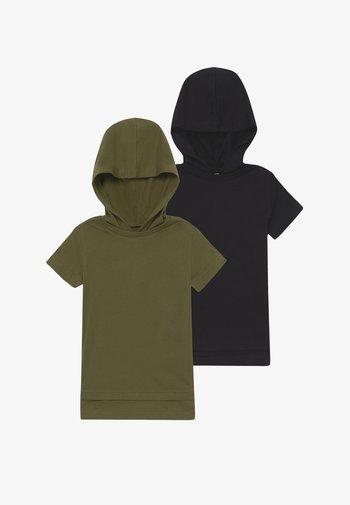 2 PACK - Print T-shirt - black/khaki