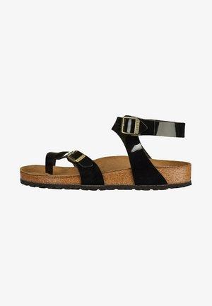 YARA - T-bar sandals - black patent