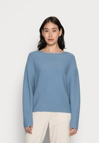 Marc O'Polo - LONGSLEEVE MODERN WIDE FIT RICE CORN STRUCTURE - Jumper - fall sky - 0
