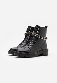 ONLY SHOES - ONLBOLD CHAIN LACE UP BOOT  - Cowboystøvletter - black - 2