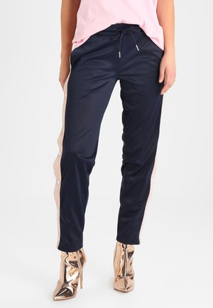 LADIES BUTTON UP TRACK PANTS - Tracksuit bottoms - navy/lightrose/white