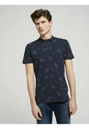 Polo shirt - navy tonal shred flower print