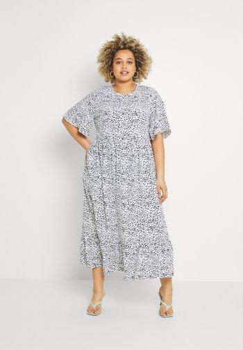 TIERED DRESS WITH SLEEVES - Korte jurk - white