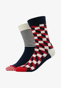 Happy Socks - FILLED OPTIC HALF STRIPE 2 PACK - Socks - black/multi-coloured - 1
