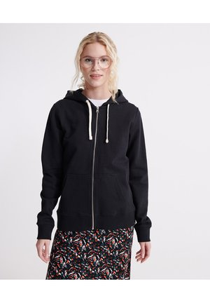 ORGANIC COTTON STANDARD LABEL ZIP HOODIE - veste en sweat zippée - black