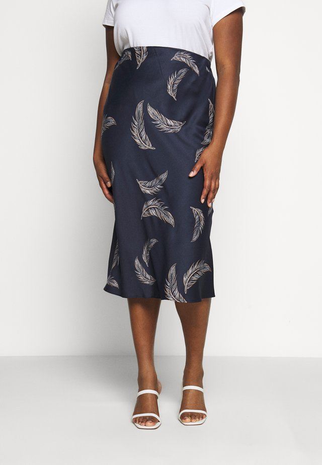 FEATHER PRINT COLUMN MIDI SKIRT - Jupe crayon - navy