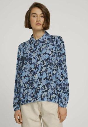 Button-down blouse - blue flower print