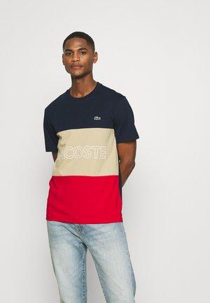 Print T-shirt - marine viennois-rouge