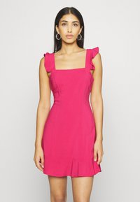 NA-KD - PAMELA REIF X NA-KD FRILL DETAIL MINI DRESS - Day dress - rosewood - 0