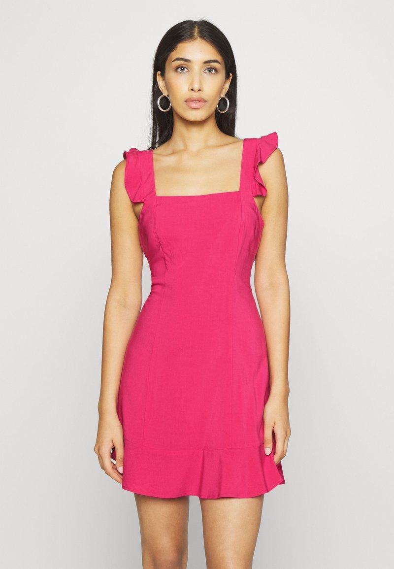 NA-KD - PAMELA REIF X NA-KD FRILL DETAIL MINI DRESS - Day dress - rosewood