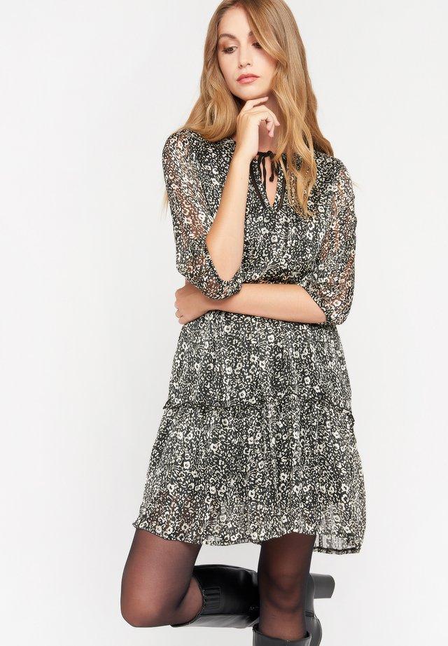 MET BLOEMEN - Korte jurk - black beauty