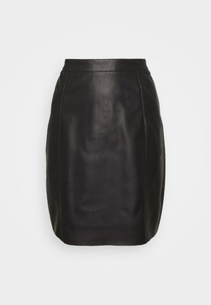 VMNORARIO COATED SKIRT  - Falda de tubo - black