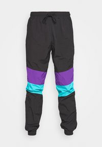 CRINKLE TRACK PANTS - Tracksuit bottoms - black/ultraviolet/aqua