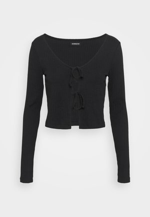 TIE UP CARDIGAN TOP  - Long sleeved top - black