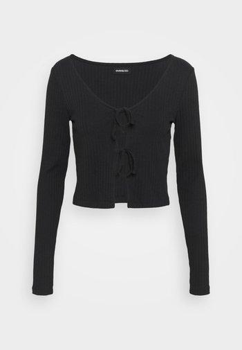 TIE UP CARDIGAN TOP  - Langarmshirt - black
