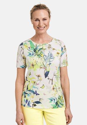 MIT DSCHUNGEL - Print T-shirt - off white ligh lime aloe druck