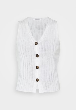 SLEEVELESS BUTTON DETAIL V NECK VEST - Waistcoat - cream