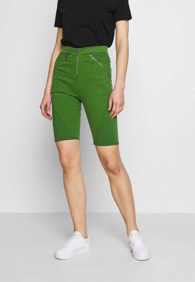 BODY CON ZIP  - Denim shorts - green